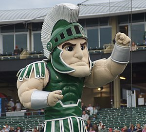 Sparty at a baseball game between Michigan State and the Lansing Lugnuts in 2007.