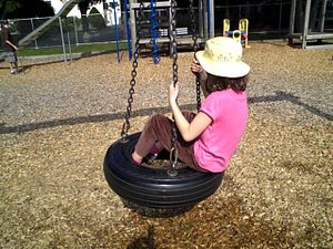 A tyre swing for kids
