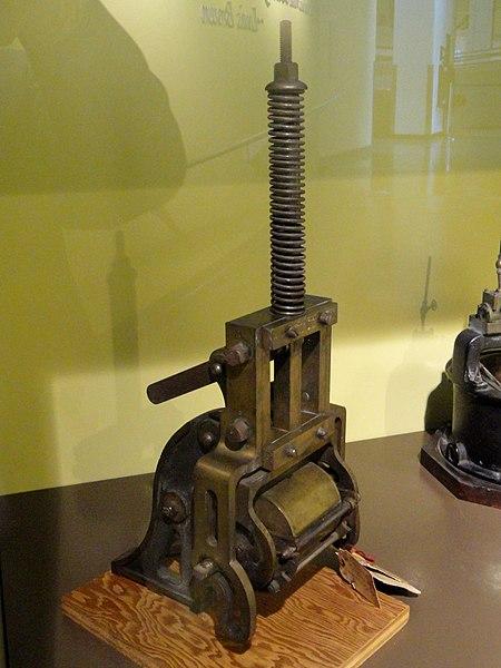 File:Spring Press, patent model by Edward Hely, 1876 - Franklin Institue - DSC06633.JPG
