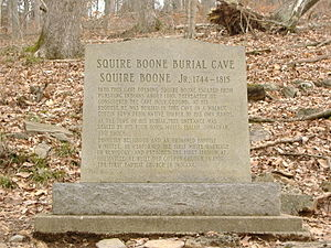Harrison County, Indiana - Original burial site marker of Squire Boone