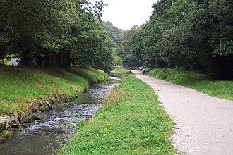 St Austell River - The St Austell River with cycle path beside it