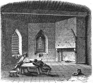 Debtors' prison - A mid-Victorian depiction of the debtors' prison at St Briavels Castle