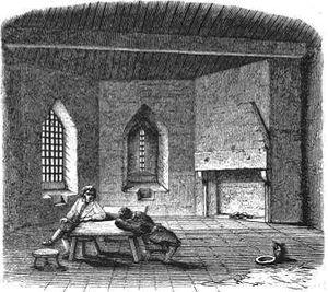 Debtors' prison - A mid-Victorian depiction of the debtors' prison at St Briavels Castle