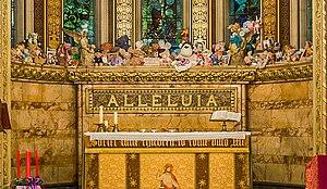 """St Christopher's Chapel, Great Ormond Street Hospital - The """"Teddy Bear Choir"""" behind the altar."""