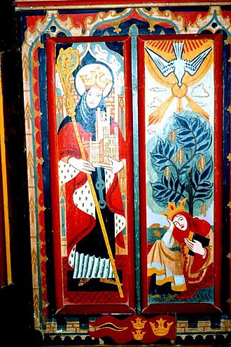Horley, Oxfordshire - Painting of St. Etheldreda on the rood screen designed by T. L. Dale and added in 1947–50