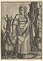 St Margaret holding a palm in her raised left hand, a dragon at her right MET DP853513.jpg