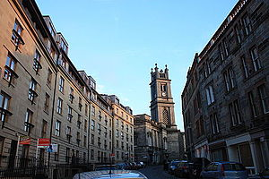 Stockbridge, Edinburgh - St Stephen Street (east) looking towards St Stephen's Church, Edinburgh