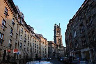 Stockbridge, Edinburgh - St Stephen Street (east) looking towards St Stephen's Church, Edinburgh