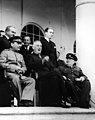 Stalin Roosevelt and Churchill at Tehran Conference, November 28-December 1, 1943 (24377431366).jpg