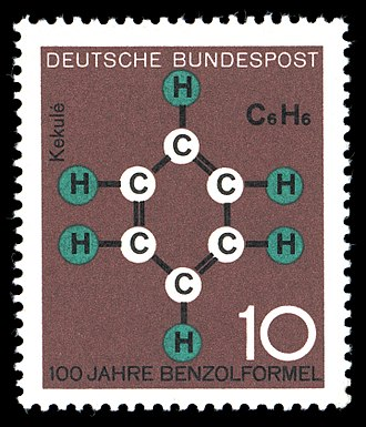 August Kekulé - 1964 West German centenary stamp for the discovery of the molecular formula of benzene.