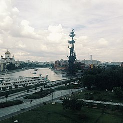 Statue of Peter the Great in Moscow and some ships on a cloudy day.jpg