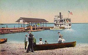 Standish, Maine - Image: Steamboat Leaving Sebago Lake Station Landing