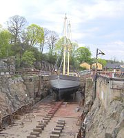 The brig Stockholm in one of the historical drydocks on the island Beckholmen in central Stockholm.