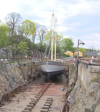 "Dry dock - The Stockholm brig ""Tre Kronor"" in one of the historical dry docks on the island Beckholmen in central Stockholm."