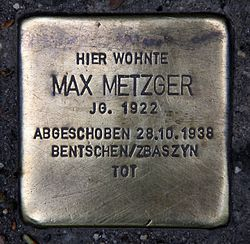 Photo of Max Metzger brass plaque