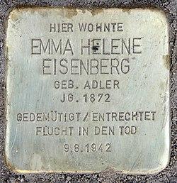 Photo of Emma Helene Eisenberg brass plaque