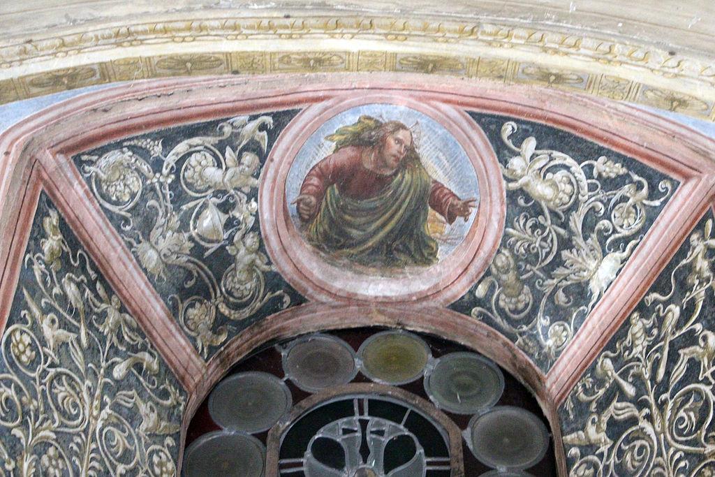 Le storie di San Benedetto, dettagli della sesta scena, Come uno prete ispirato da Dio porta da mangiare a Benedetto nel giorno di Pasqua