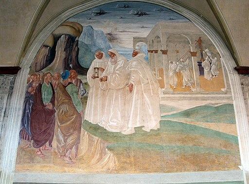 Luca Signorelli, le storie di San Benedetto, Scena 22 - Come Benedetto evangelizza gli abitanti di Montecassino