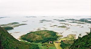 Brønnøy - View from inside the hole of Torghatten; the Strandflaten coastal lowland
