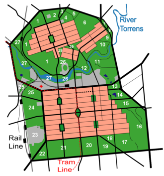 Adelaide Park Lands - Above map with Park numbers added.