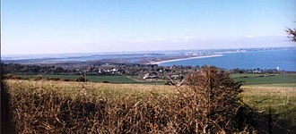 Studland - Studland Bay, Godlingstone Heath, Poole Harbour and Bournemouth from Ballard Down