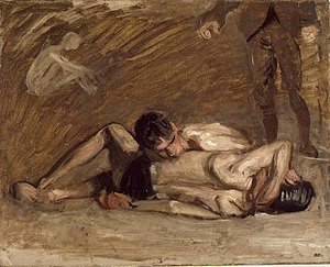 Wrestlers (Eakins) - G-318. Oil sketch for Wrestlers (1899). 16 1/16 x 20 1/16 in. (40.8 x 50.96 cm). Los Angeles County Museum of Art