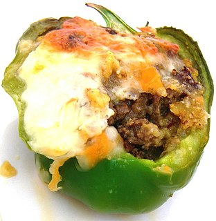 Stuffed peppers dish involving filling the cavities of a bell pepper with other food