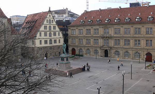 Schillerplatz showing the Fruchtkasten building on the left and Prinzenbau on the right. In the centre: the Schiller memorial