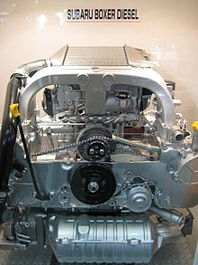 flat engine subaru boxer turbodiesel engine cutaway display