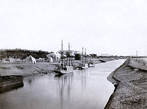 Lake Timsah - The Suez Canal at Ismailia by the northern bank of Lake Timsah, c. 1860.  Completion of the segment brought waters from Lake Manzaleh to Lake Timsah.