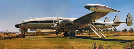 Super Constellation at Charles Prince Airport, Rhodesia (now Zimbabwe) in 1975. Used as a flying club headquarters. - Lockheed Constellation