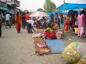 Haat bazaar - People in weekly haat at Surunga, Nepal