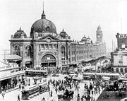 Flinders Street Station, intersection of Swanston and Flinders Streets, 1927.
