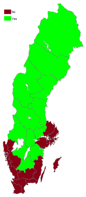 Swedish prohibition referendum, 1922 - Image: Swedish prohibition referendum results by county, 1922