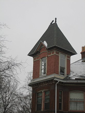 Charles O. Boynton House - The tower on the mansion's southeast corner.