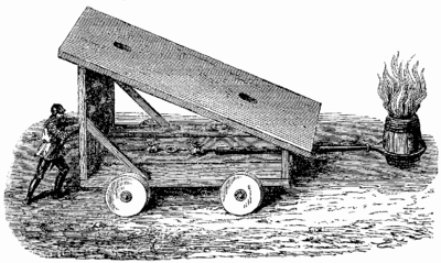 T3- d223 - Fig. 134 — Machine roulante pour attacher le feu grégeois à la porte des forteresses.png