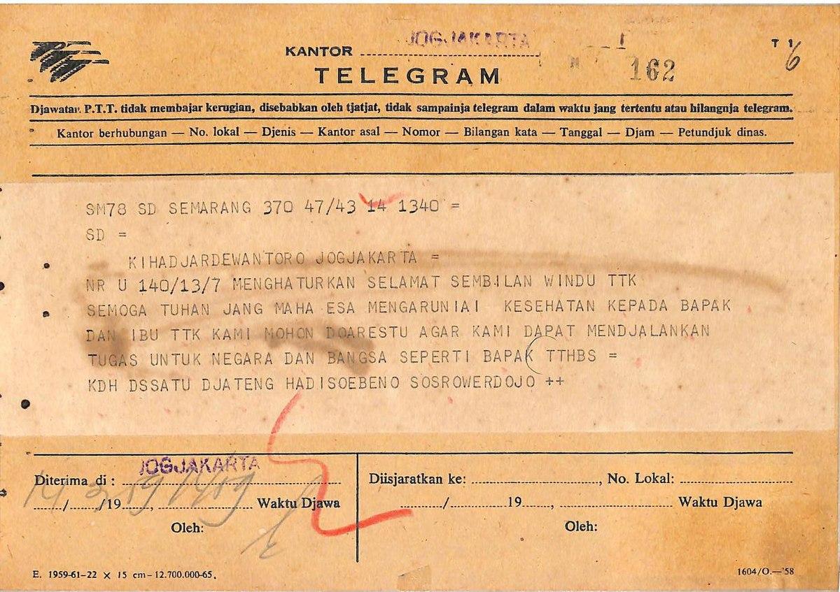 File TDKGM 01 226 70 6 Telegram Dari Hadisoebeno