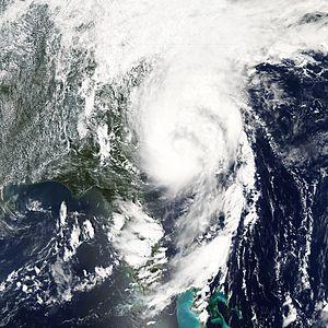 Hurricane Ernesto (2006) - Tropical Storm Ernesto intensifying along the Atlantic coast on August 31