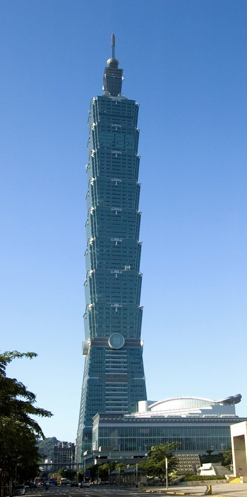 Taipei 101, the world's tallest skyscraper from 2004 to 2009, was the first to exceed the half-kilometer mark.