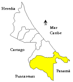 Location of Talamanca in Limón Province