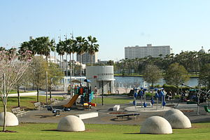 Curtis Hixon Waterfront Park - Playground area and kiosk at Curtis Hixon Waterfront Park