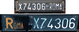 Vehicle registration plates of Italy - 1976-1985 front and rear Italian car number plates. ROMA is the provincial code of Rome.