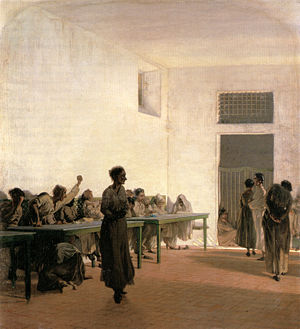 Telemaco Signorini - Ward of the Madwomen at S. Bonifazio (1865)