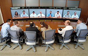 Videotelephony - An upscale Teliris VirtuaLive telepresence system in use (2007).