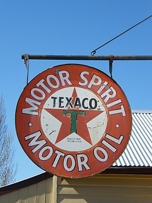 Texaco - Antique Texaco advertising, Gippsland Motor Garage, Old Gippstown