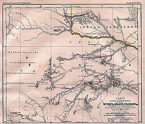 Texas rivers map showing Captain Marcy's route though Texas in 1854.