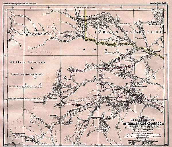 Texas rivers map showing Captain Marcy's route though Texas in 1854. Texas Rivers 1895.jpg