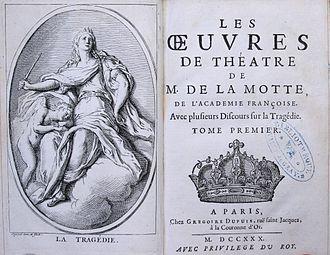 Antoine Houdar de la Motte - Frontispice and title of aa 1730 edition de 1730 (exemplaire de la bibliothèque patrimoniale de Gray)