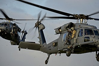 56th Rescue Squadron - Two squadron HH-60 Pave Hawks on a Combat Search and Rescue exercise