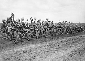 Worcestershire Regiment - Men of the 4th Battalion, Worcestershire Regiment marching to the trenches; Acheux-en-Amiénois, France, 27 June 1916.